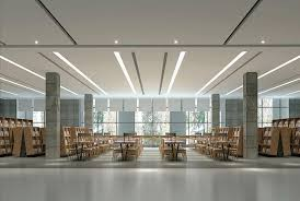 library lighting. Linear Ceiling Lighting Is Paired With Minimalist Table Lamps Library