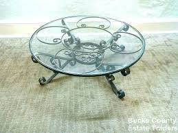 round wrought iron coffee table glass top designs base