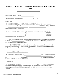 template for llc operating agreement free llc operating agreement templates pdf word eforms free