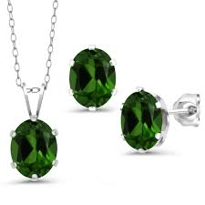 3 60 ct green chrome diopside 925 silver pendant earrings set with chain 0