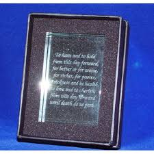 engraved crystal wedding vows Wedding Vows Plaque personalise wedding vow block; crystal wedding vows block in box wedding vow plaque