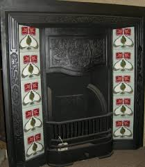 art nouveau mackintosh rose style fireplace tile set ref 006