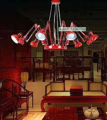 fixtures swing arm novelty spider lighting chandelier office adjule red black chandelier 6 arm luminaria commercial commercial