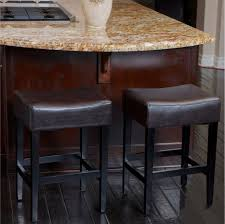 duff backless brown leather counter stools set of 2 for