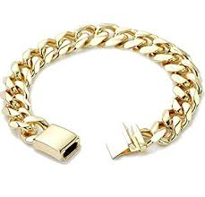 18k gold cuban link bracelet 9mm round solid fashion jewelry 24k gold filled miami cuban link