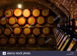 oak barrels stacked top. Wine Barrels In The Antique Cellar. Cavernous Cellar With Stacked Oak For Maturing Top I