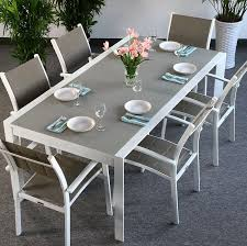 white garden furniture. Brilliant Furniture Modern_Large_6_Seater_Metal_Aluminium_Glass_White_Champagne_Extending_Garden_Furniture_Dining_Table_Set_6 Throughout White Garden Furniture U