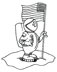 First American Flag Coloring Page An Astronaut Holding Flag On The