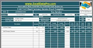 Vat Calculation Formula In Excel Download Download Uae Vat Dual Currency Invoice Excel Template