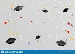 Free Graduation Background Designs Confetti Graduation Hats Fly In Sky Poster Graduation Caps