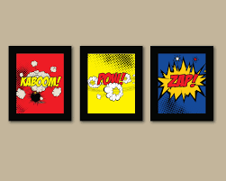 Superhero Bedroom Decor Set Of 3 Comic Superhero Prints Pinhonest Comic Book Nursery