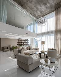 Living Room With High Ceilings Decorating Interior Elegant High Ceiling Living Area Interior With Concrete