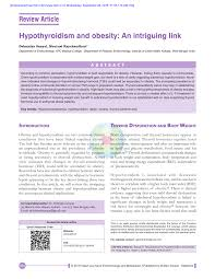 pdf hypothyroidism and obesity an intriguing link