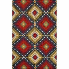 rugs hand tufted tribal pattern red wool area rug 8x11 pad