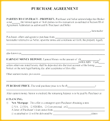 House Contract Form Earnest Money Contract Template New Free Property Purchase