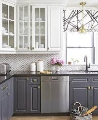 backsplash ideas kitchen. Unique Kitchen Grey And White Chevron Tile Backsplash In A Stylish Kitchen With  Contrasting Cabinets Intended Ideas