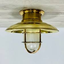 covered nautical brass ceiling light