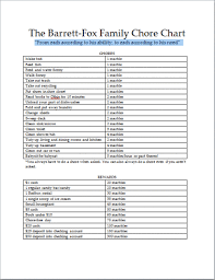 Chore List For Families The B F Family Chore Chart Rebecca Barrett Fox