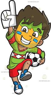 sports fan clipart. a soccer fan boy sports clipart