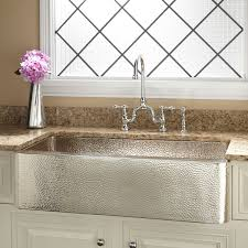 stainless steel hammered a front kitchen sink for kitchen decor idea