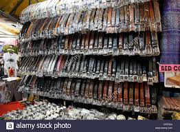 Fake Designer Belts Selling Counterfeit Designer Belts And Goods On A Stall At