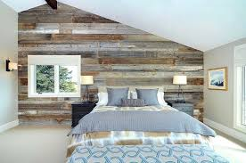 barn board wall view in gallery serene and stylish contemporary bedroom with a wood accent wall