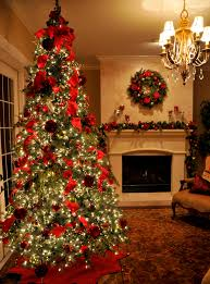 Living Room Amazing Tree Christmas Decorations Ideas With Red Ribbon  Ornament Lights Led Warm White Fireplace Garland