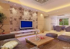 Wall Mount Tv For Living Room Fascinating Living Room Interior Decorating With Floral Wallpaper