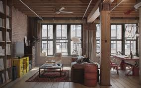 ... Cozy Inspiration Industrial Apartment 13 View In Gallery Industrial  Urban Masculine Apartment Nordes Living Area Thumb ...