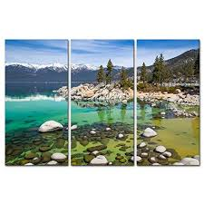canvas print wall art painting for home decor sandy lake tahoe beach with crystal clear turquoise