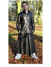 men s matrix style long leather coat