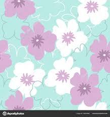 Purple Flowers Backgrounds Seamless Pattern White Purple Flowers Turquoise Background