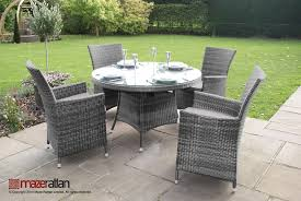 garden furniture 4 seater la round table set in grey rattan weave