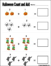 Preschool and Kindergarten Halloween Math WorksheetsEasy Addition Worksheets