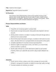 Customer Service Representative Responsibilities Resume Oliviajaneco
