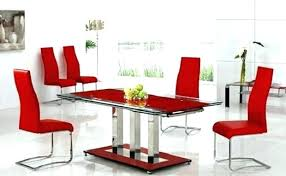 Red dining table set Paint Black And Red Dining Table Set Glass Chairs Leather Room Sets Aqua Kitchen Delectable Lovelyideas Red Dining Table Set Glass And Chairs Black Modern Design