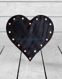 marquee antiqued black wooden heart light