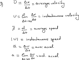 this is a picture of what someone wrote on a board and it gives equations for diffe types of velocity and acceleration