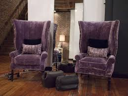 funiture a pair purple velvet wingback accent chairs with throw pillow in living room with