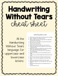Handwriting Without Tears Letter Formation Language