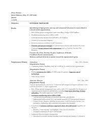 Generic Objective For Resume General Cover Letter Job