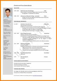 5 Cv Form Format Absence Notes