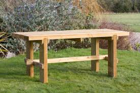 rebecca wooden garden table furniture land round wood garden table starrkingschool