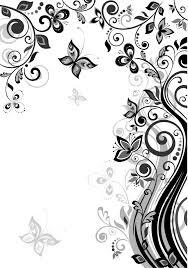 花のイラストフリー素材壁紙背景no848白黒つる蝶曲線