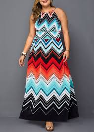 Modlily Size Chart Plus Size Chevron Print Sleeveless Maxi Dress Modlily Com Usd 29 99