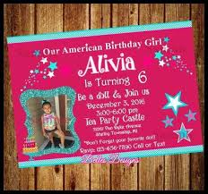 Birthday Party Evites American Girl Birthday Party Invitations Luxury American