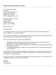 Sample Resume: Food Technologist Cover Letter Sle For.
