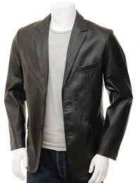 men s leather blazer in black magdeburg front