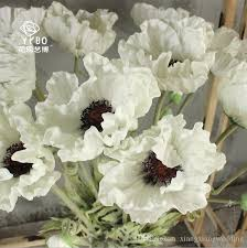 wedding flowers silk flower white red orang poppy flowers pu artificial anemones for bouquet table centerpieces natural pu flowers big white anemones