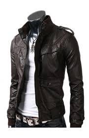 slim fitted black leather jacket
